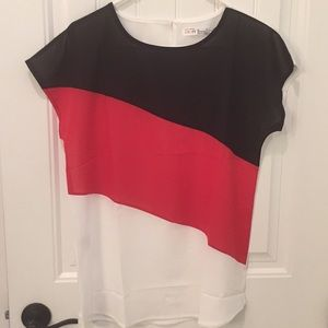 Tops - RESPI Ronics Black, red and white top
